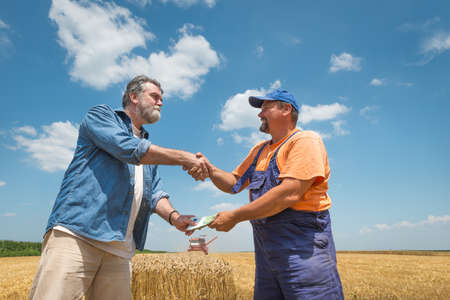 agricultor: granjero feliz despu�s de la cosecha de trigo