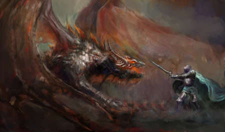 creature of fantasy: brave knight fighting with the dragon