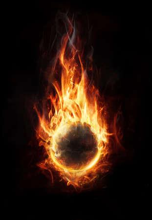 orb of fire on dark background photo