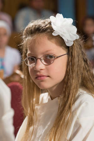 little girl have first communion photo
