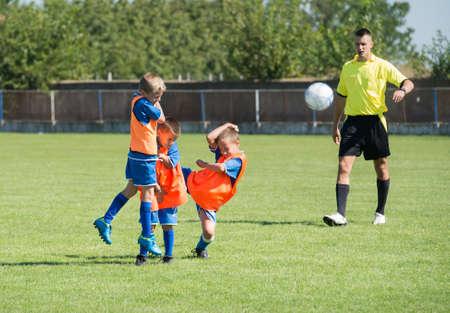 arbiter: A direct free kick on football field