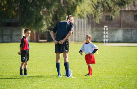 arbiter: beginning on football match for kids