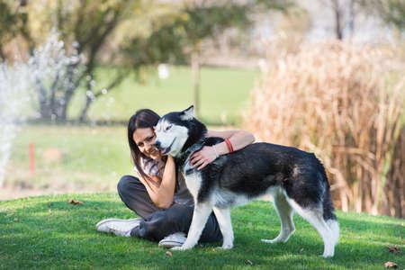 girl and her faithful dog