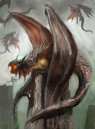 creature of fantasy: many dragons in their nest