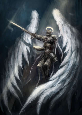 Angel knight  with white white  wings Stock Photo