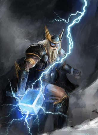 odin: viking god of lightning thor