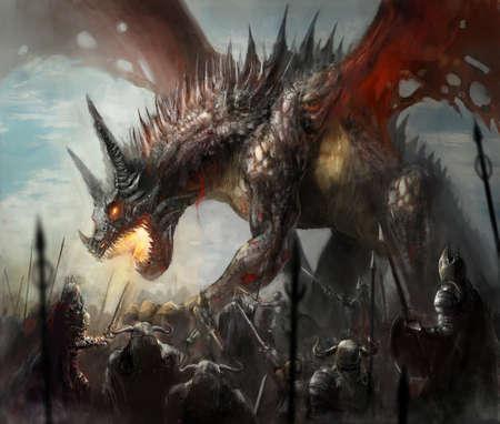 ridders jagen draak op veld
