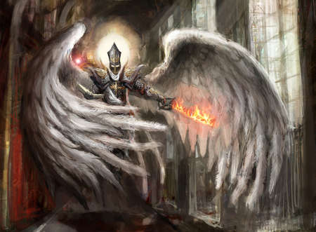カテドラルで燃えている剣を持つ天使