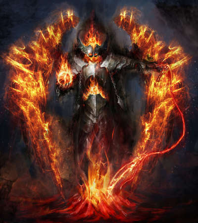 red devil: fire lord rising from magma Stock Photo