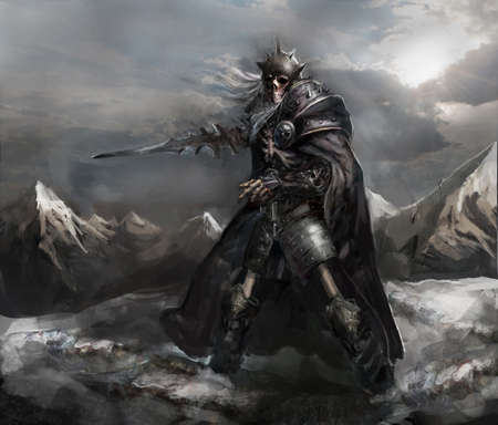 skelet ridder in de winter