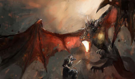 dragon fire: fantasy scene knight fighting dragon