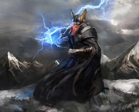 Wikinger-Gott des Blitzes thor Standard-Bild - 25086155