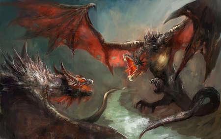 결투를 갖는 2 개의 dragoins