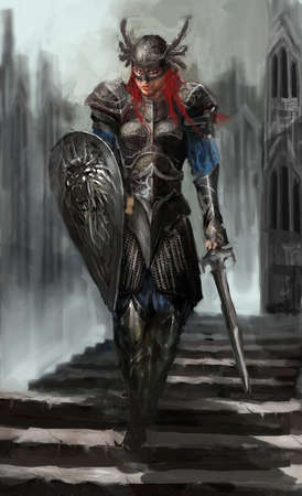 female knight coming down the stairs