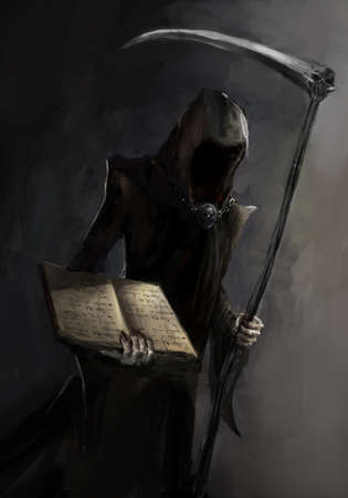 afterlife: grim reaper with a death book
