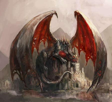 Dragon paresseux dormant sur le château Banque d'images - 25653461