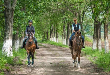jinete: Dos chicas jóvenes en la equitación