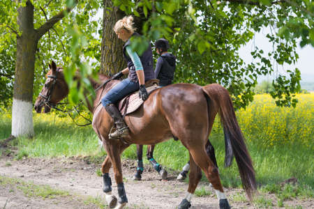adult rape: Two a young girls on horseback riding