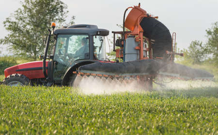 agronomic: Tractor spraying wheat in spring