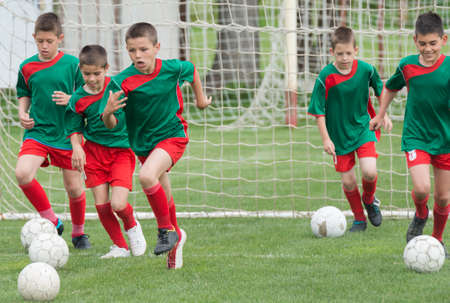 start play: children exercise before the game
