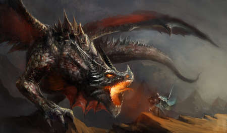 fantasy: fantasy scene knight fighting dragon
