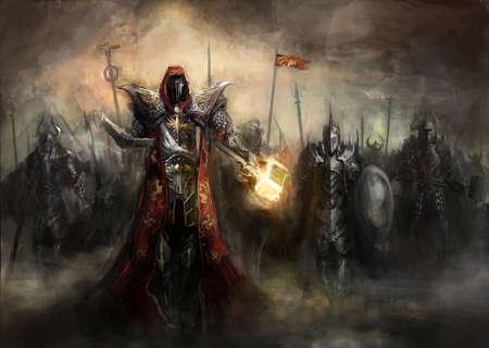 General, der seine Armee in den Krieg Standard-Bild