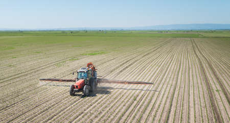 agriculture industry: tractor spraying pesticides on soy bean