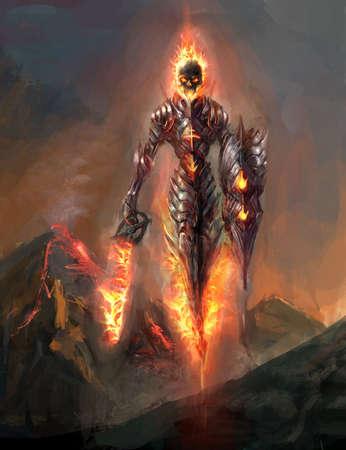 burning skeleton knight over volcano