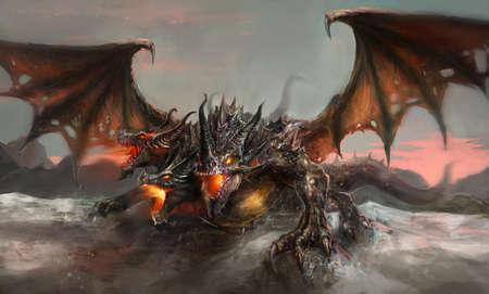 headed: illustration of three headed dragon