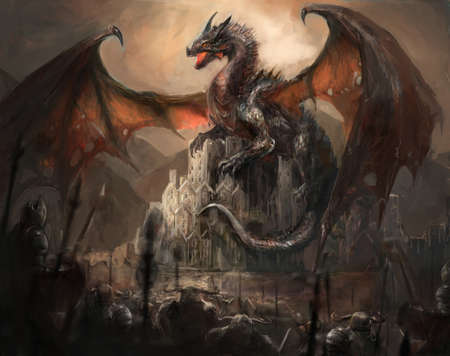 creature of fantasy: War with the dragon on castle Stock Photo