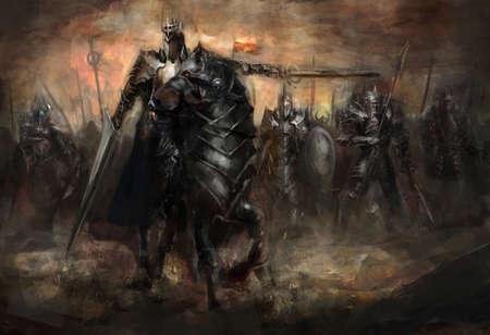 demonio: rey al frente de su ejército en la guerra Foto de archivo