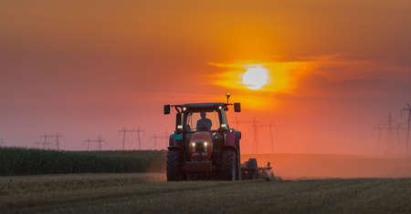 orange industry: tractor plowing field at dusk Stock Photo