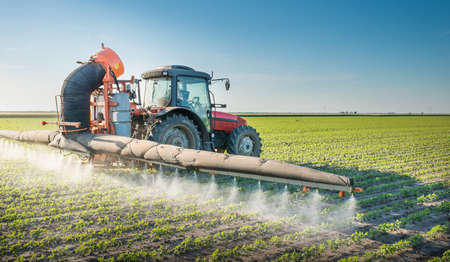 field and sky: tractor de fumigaci�n de pesticidas en la soja Foto de archivo