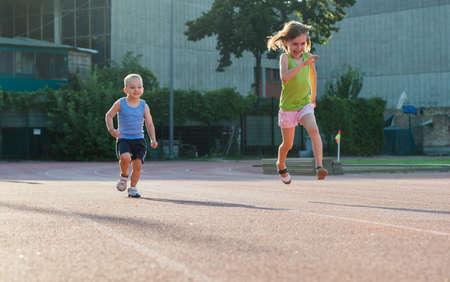 jogging track: children running on the track
