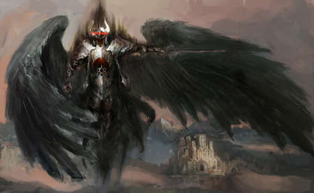 dead knight or fallen angel 스톡 콘텐츠