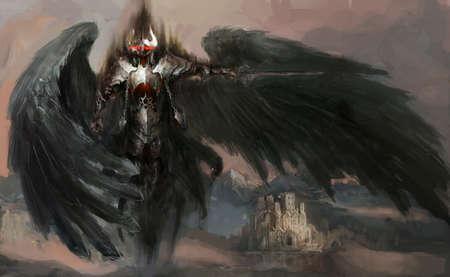 satanas: caballero muerto o ángel caído Foto de archivo