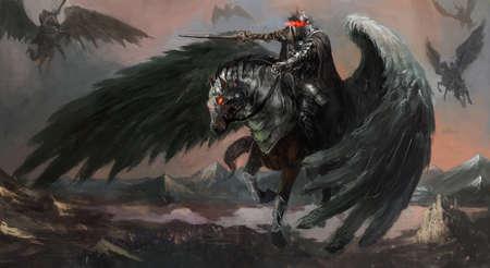 uomo a cavallo: re pegasus scuro che porta il suo esercito Archivio Fotografico