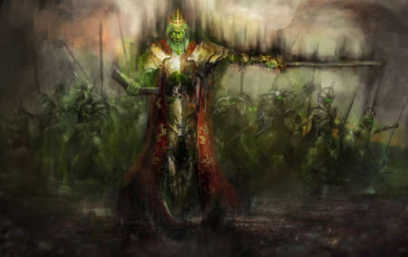 fantasy art: death king leading his army