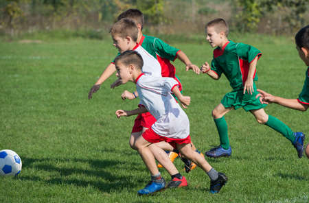 soccer ball on grass: boys kicking football on the sports field