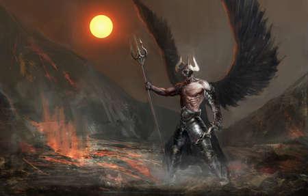 dark angel: dead knight or fallen angel Stock Photo
