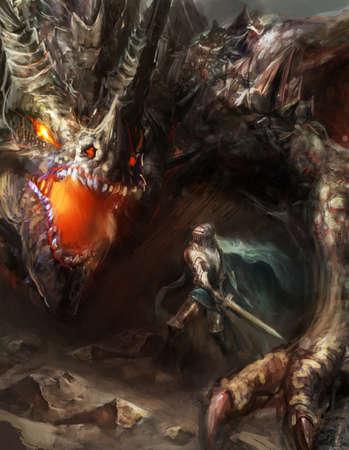 Fantastique scène chevalier dragon, combats Banque d'images - 33155789