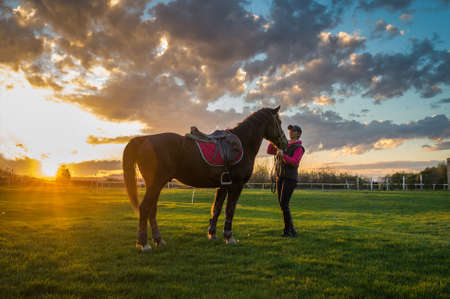 horses: Girl and horse at sunset Stock Photo