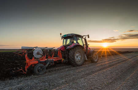 plows: Tractor plowing at sunset