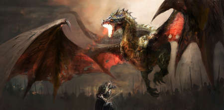 ファンタジーのシーンの騎士戦闘竜