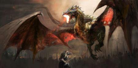 fantasía de escena de lucha caballero del dragón Foto de archivo