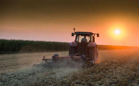 tractor plowing field at dusk Foto de archivo