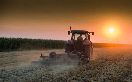 farm machinery: tractor plowing field at dusk Stock Photo