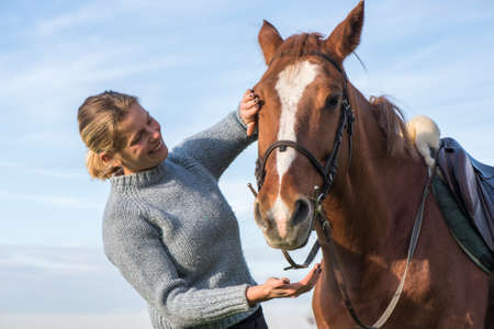 young woman taking care of her horse photo