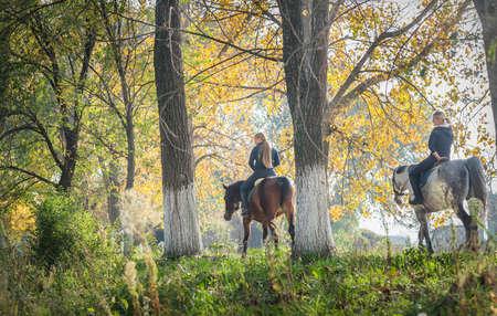 秋の森で馬に乗る女の子 写真素材