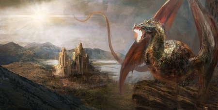 fairytale castle: War with the dragon on castle Stock Photo